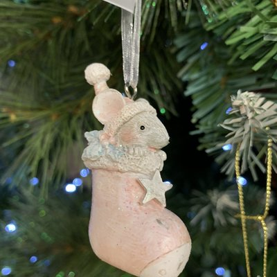 Gisela Graham Silver & Pink Resin Mouse In Boot Hanging Decoration