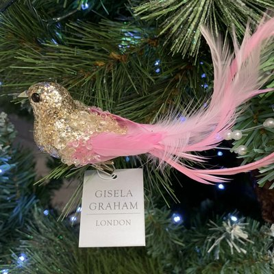 Gisela Graham Clip On Glitter Bird with Pink Feather Tail Decoration