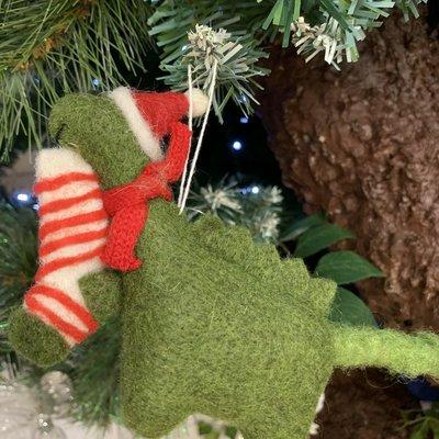 Gisela Graham Mixed Wool Dinosaur with Hat & Stocking Hanging Decoration