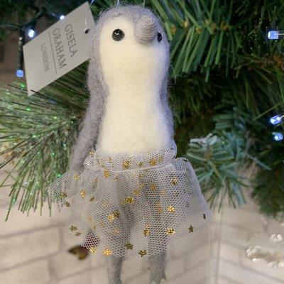 Gisela Graham Wool Mix Grey Penguin in Tutu Hanging Decoration