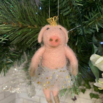 Gisela Graham Wool Mix Ballerina Pig 'Alan' Hanging Decoration