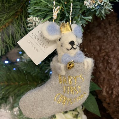 Gisela Graham Wool Mix Baby's First Christmas White Mouse in Stocking Hanging Decoration