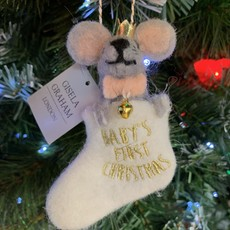 Gisela Graham Wool Mix Baby's First Grey Mouse in Stocking Hanging Decoration