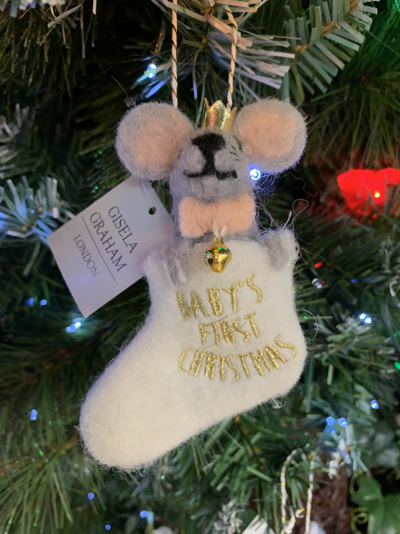 Wool Mix Baby's First Grey Mouse in Stocking Hanging Decoration
