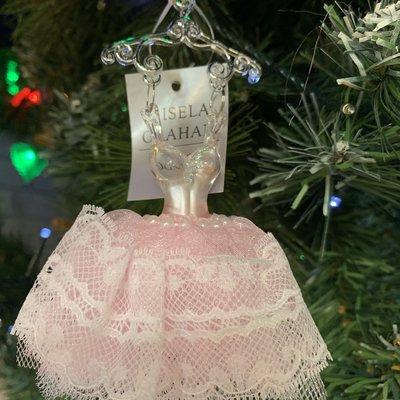 Gisela Graham Pink Lace Ballet Dress on Hanger Decoration