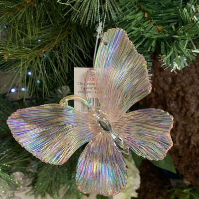 Gisela Graham Pink Lustre & Diamanté Butterfly Hanging Decoration