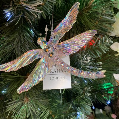 Gisela Graham Pink Lustre & Diamanté Dragonfly Hanging Decoration