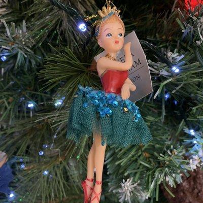 Gisela Graham Resin Red & Green Ballerina Girl Hanging Decoration