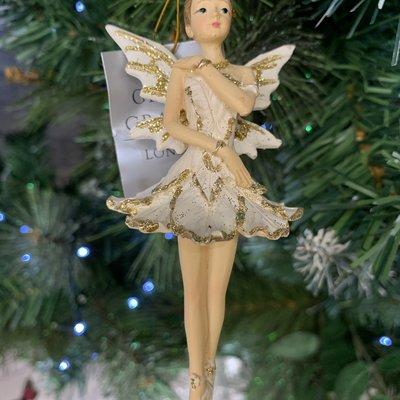 Gisela Graham Resin Cream & Gold Ballerina Fairy Hanging Decoration