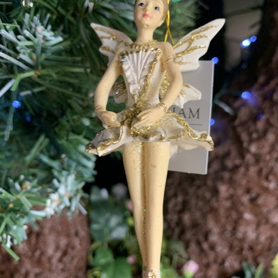 Gisela Graham Resin Cream & Gold Ballerina Fairy With Arms Down Hanging Decoration