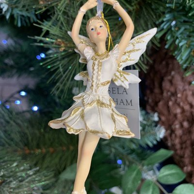 Gisela Graham Resin Cream & Gold Ballerina Fairy with Arms Up Hanging Decoration