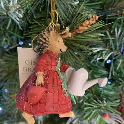 Gisela Graham Mrs Hedgehog Resin Hanging Decoration
