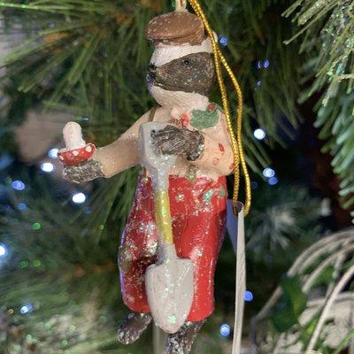 Gisela Graham Mr Badger Resin Hanging Decoration