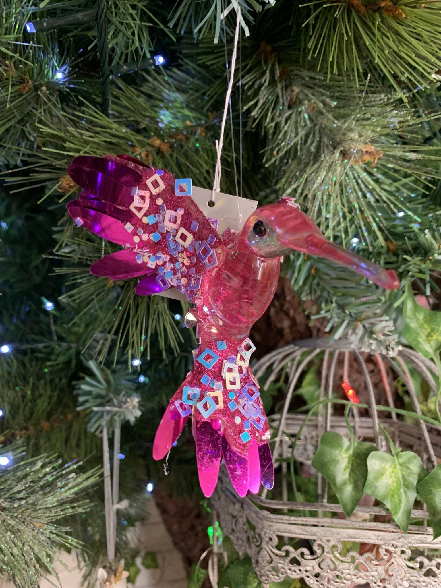 Fuchsia Foil Acrylic Hummingbird Hanging Decoration