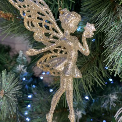 Gisela Graham Gold Glitter Acrylic Fairy with Star Hanging Decoration