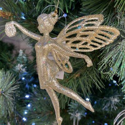 Gisela Graham Gold Glitter Acrylic Fairy with Bauble Hanging Decoration