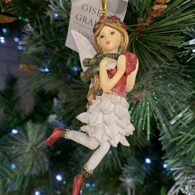 Gisela Graham Woodland Resin Fairy with Scarf Hanging Decoration