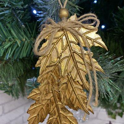 Gisela Graham Tin Bronze & Gold Maple Leaf Cluster Hanging Decoration