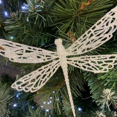 Gisela Graham White Glitter Dragonfly Clip Decoration