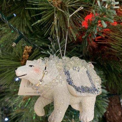 Gisela Graham White & Silver Resin Dressed Polar Bear Hanging Decoration