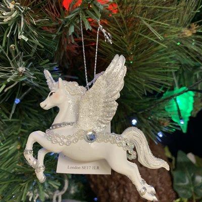 Gisela Graham Silver & White Resin Flying Unicorn Hanging Decoration