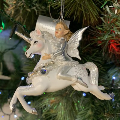 Gisela Graham White & Silver Resin Fairy on Unicorn Hanging Decoration