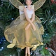 Gold Leaf Resin Ballerina with Arms Down Hanging Decoration