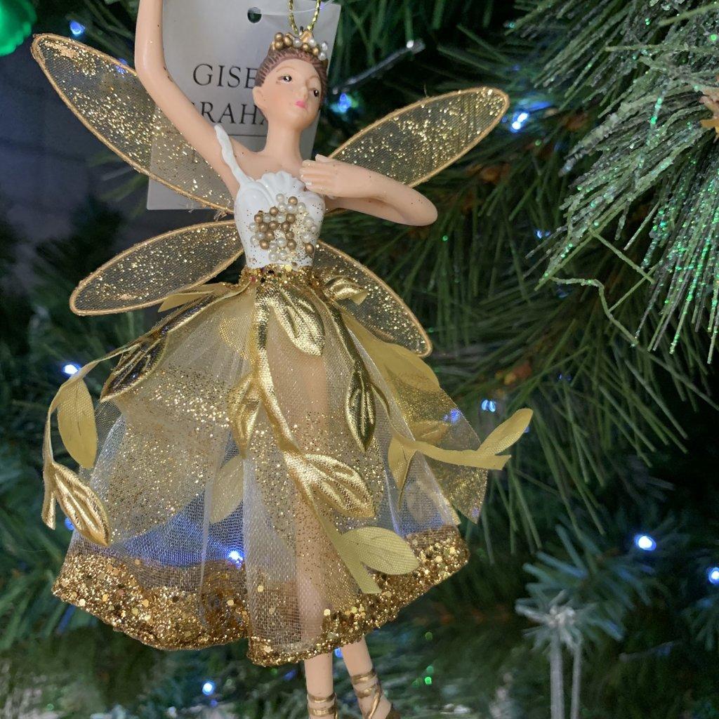 Gisela Graham Gold Leaf Resin Ballerina Hanging Decoration
