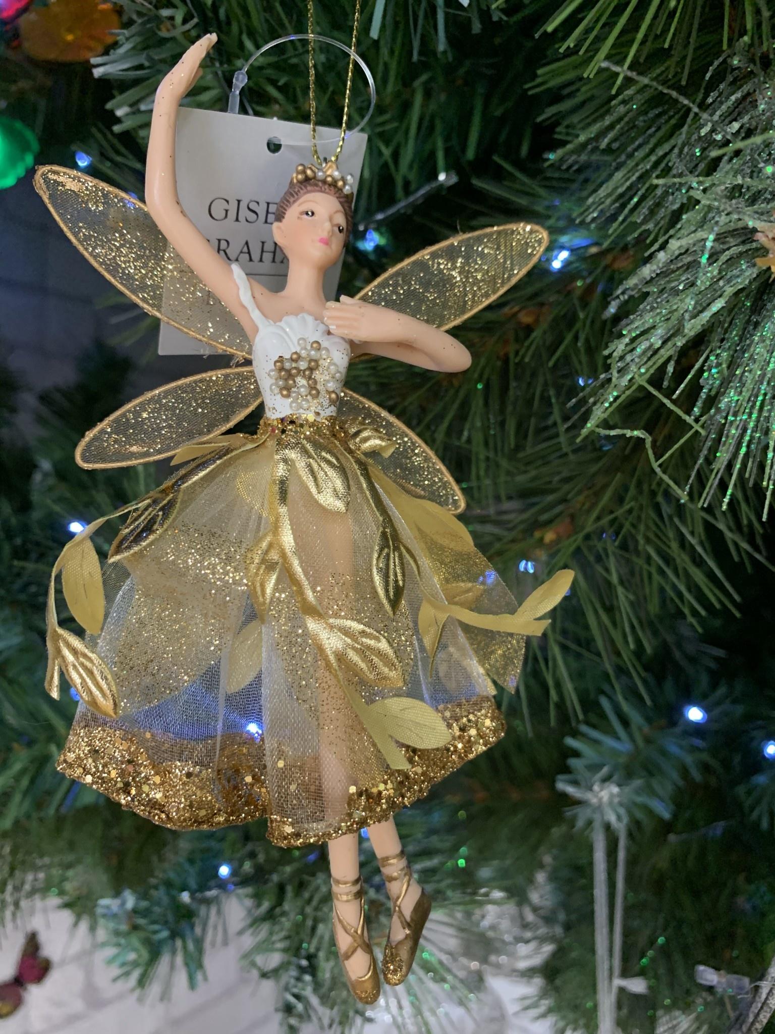 Gold Leaf Resin Ballerina Hanging Decoration