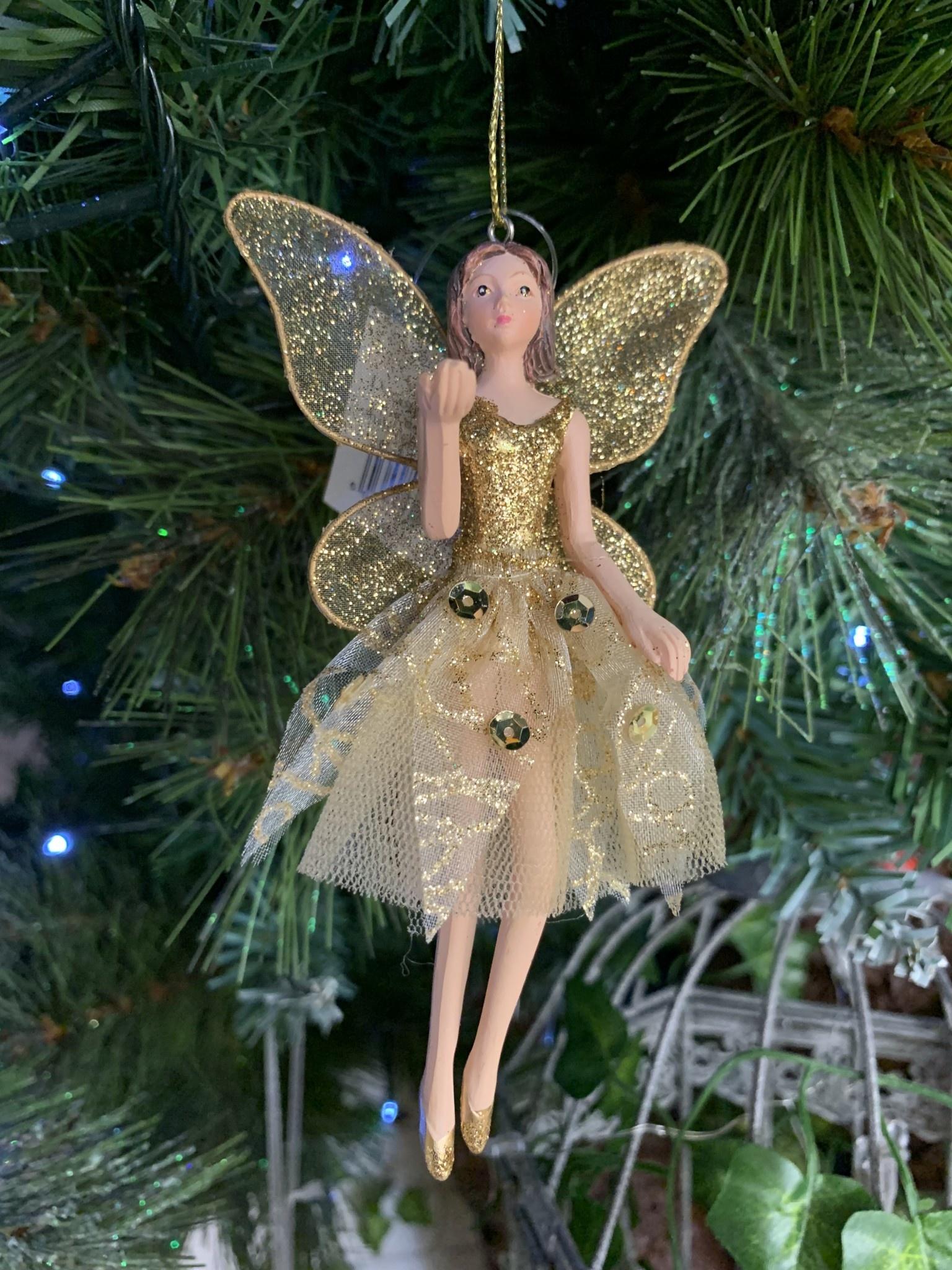 Gisela Graham Gold Glitter & Fabric Ballerina Arm Up Hanging Decoration