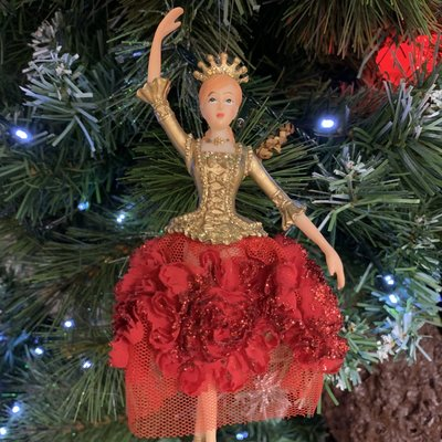 Gisela Graham Red & Gold Elegant Ballerina Hanging Decoration