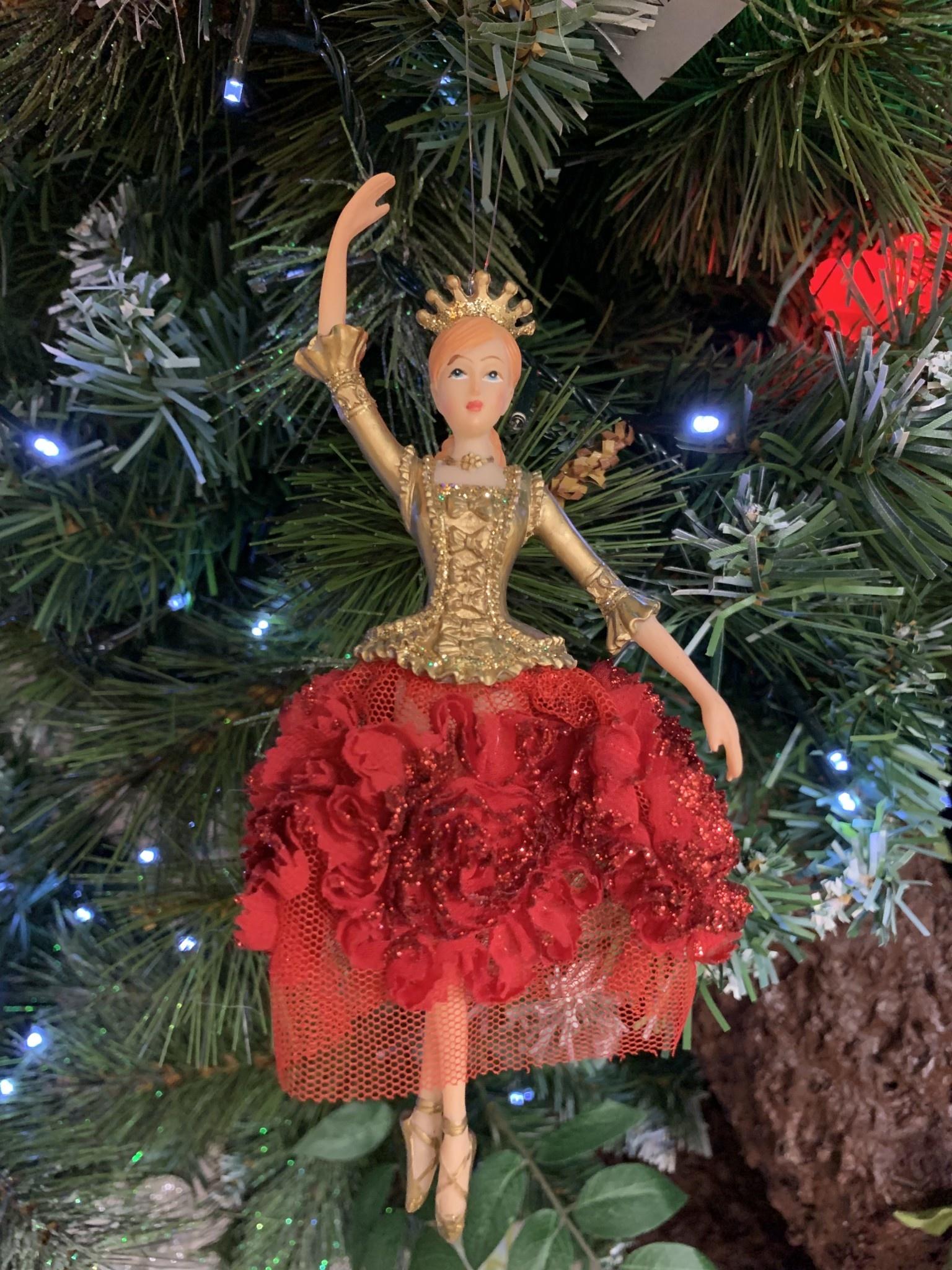 Gisela Graham Red & Gold Elegant Ballerina Hanging Decoration