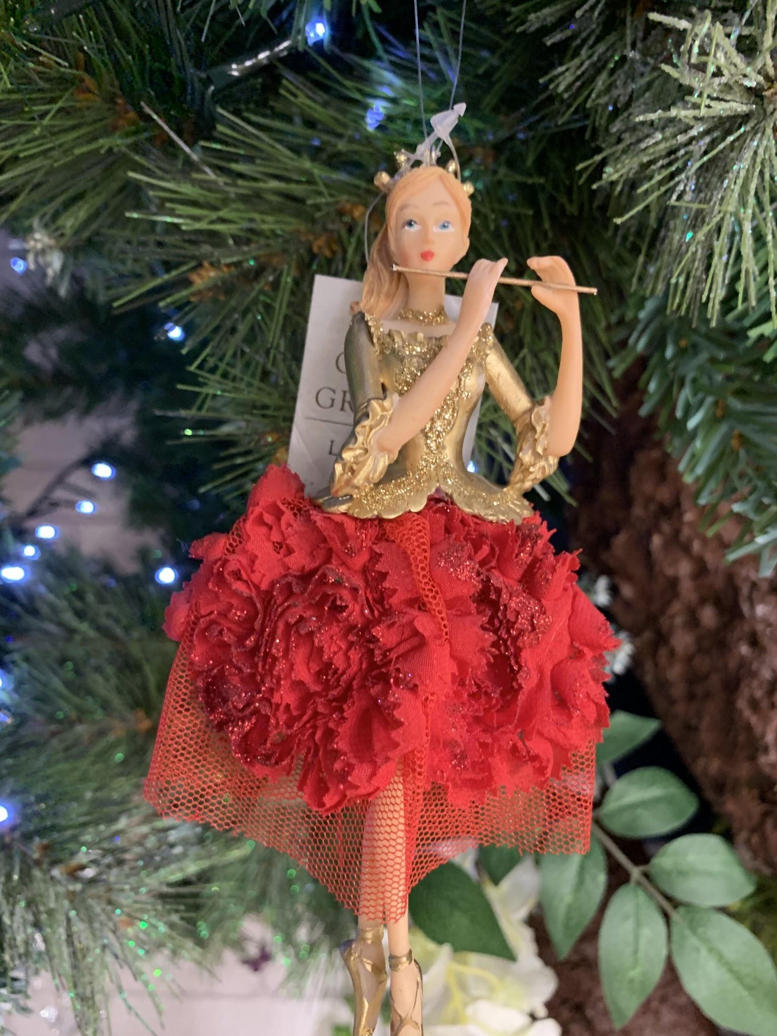 Red & Gold Elegant Ballerina with Flute Hanging Decoration