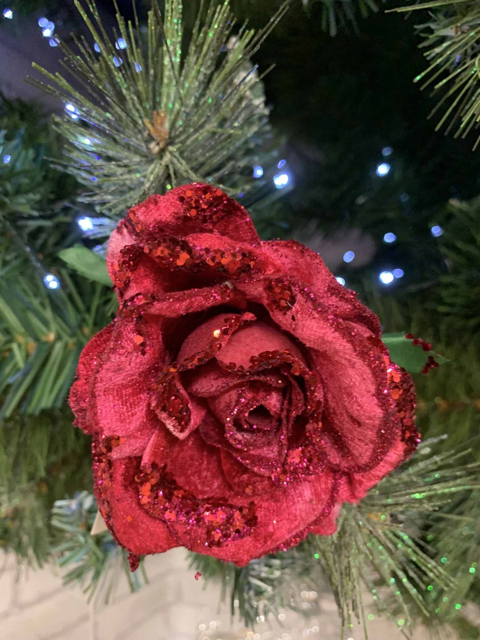 Pink Fabric Glitter Rose Clip on Decoration