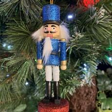Gisela Graham Glittered Dark Blue Wooden Nutcracker Hanging Decoration