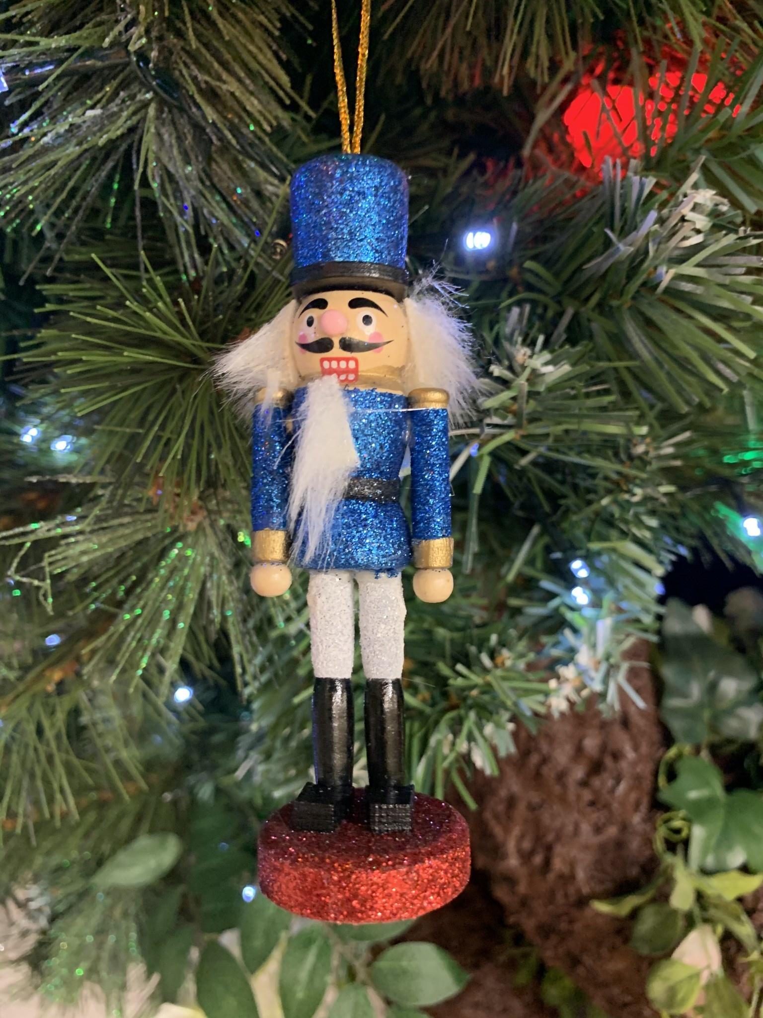 Glittered Dark Blue Wooden Nutcracker Hanging Decoration