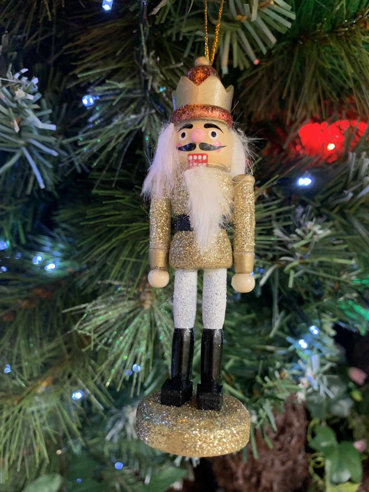 Gisela Graham Glittered Gold & Red Crown Wooden Nutcracker Hanging Decoration