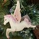 White & Pink Resin Flying Pegasus Hanging Decoration