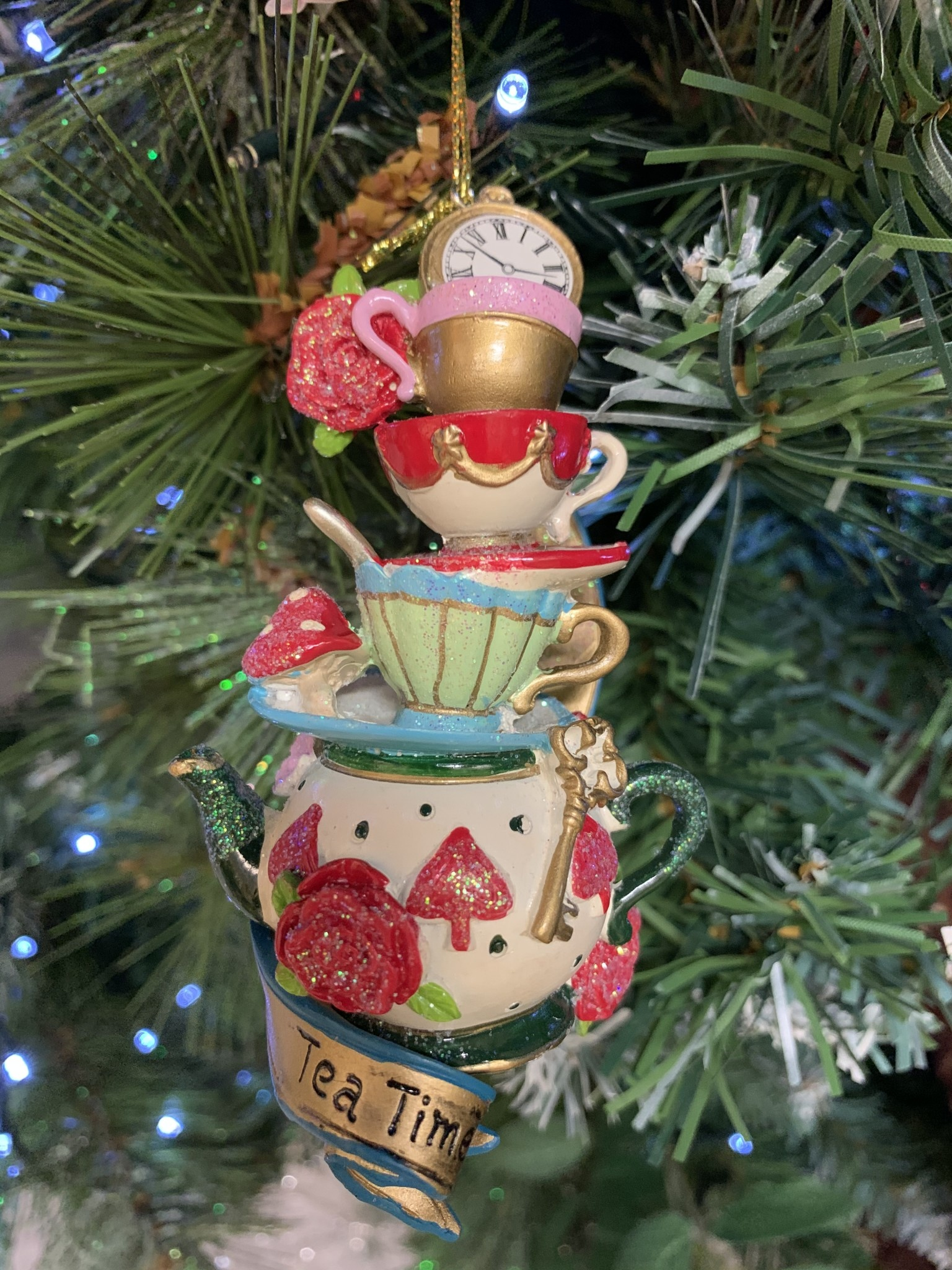 Tea Time Teapot, Cups & Saucer Stack Hanging Decoration