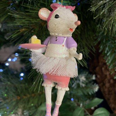 Gisela Graham White Mouse Ballerina with Cake Slice Hanging Decoration