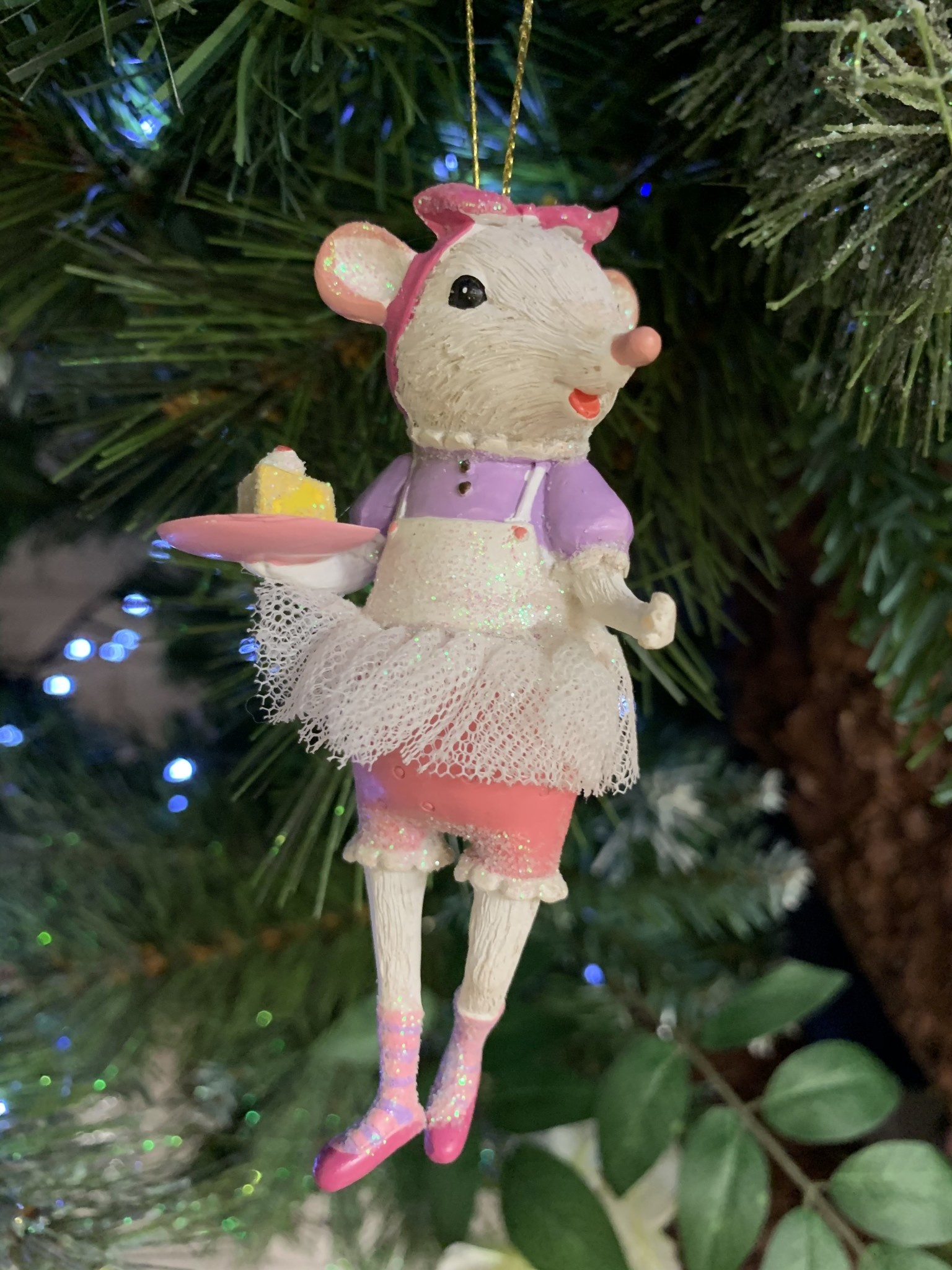 White Mouse Ballerina with Cake Slice Hanging Decoration