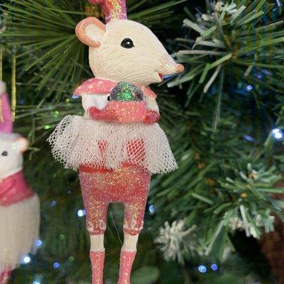 Gisela Graham White Mouse Ballerina with Cupcake Hanging Decoration