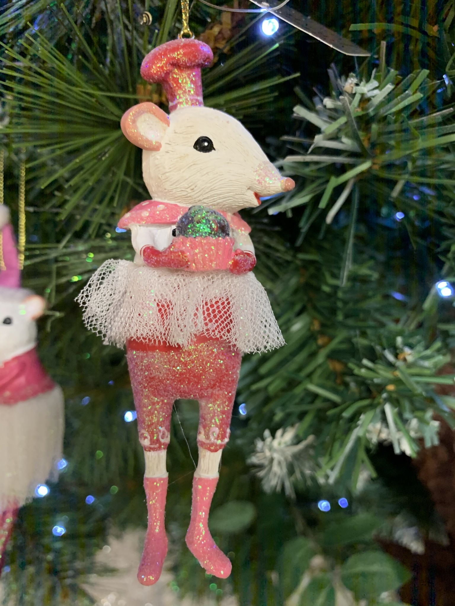 White Mouse Ballerina with Cupcake Hanging Decoration