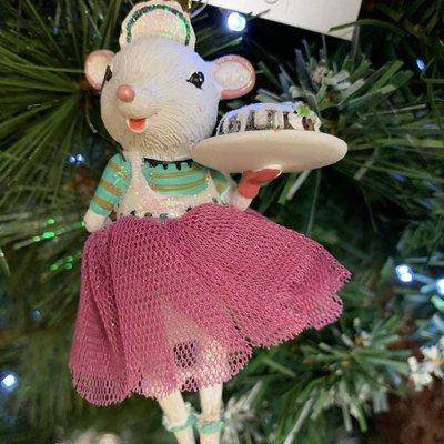 Gisela Graham White Mouse Ballerina with Cake Hanging Decoration