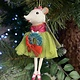 White Mouse Ballerina with Wreath Hanging Decoration
