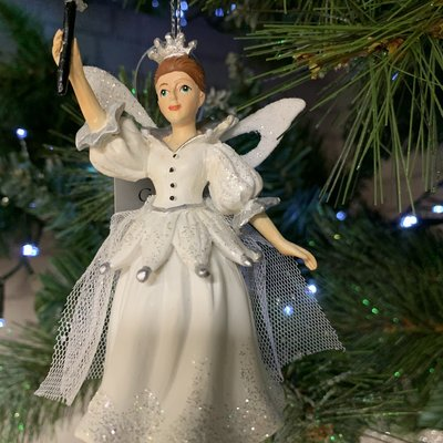 Gisela Graham White Fairy Godmother Hanging Decoration