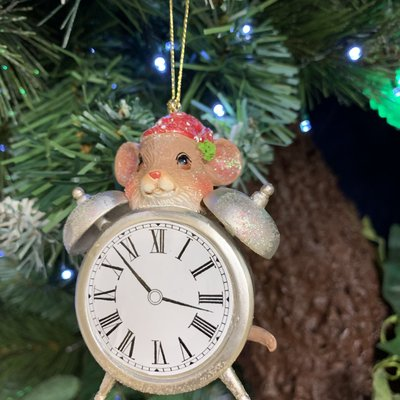 Gisela Graham Clock with Mouse Hanging Decoration