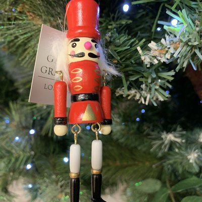 Gisela Graham Jointed Wood Nutcracker with Red Hat Hanging Decoration