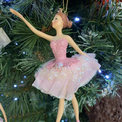 Gisela Graham Pink Ballerina Arms Out Hanging Decoration