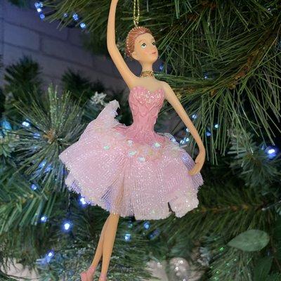 Gisela Graham Pink Ballerina Arms Up Hanging Decoration
